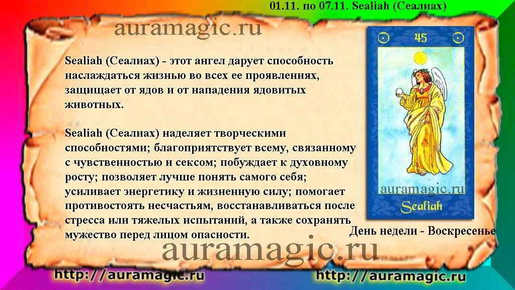 02.11. по 07.11. Sealiah (Сеалиах) ангел-хранитель
